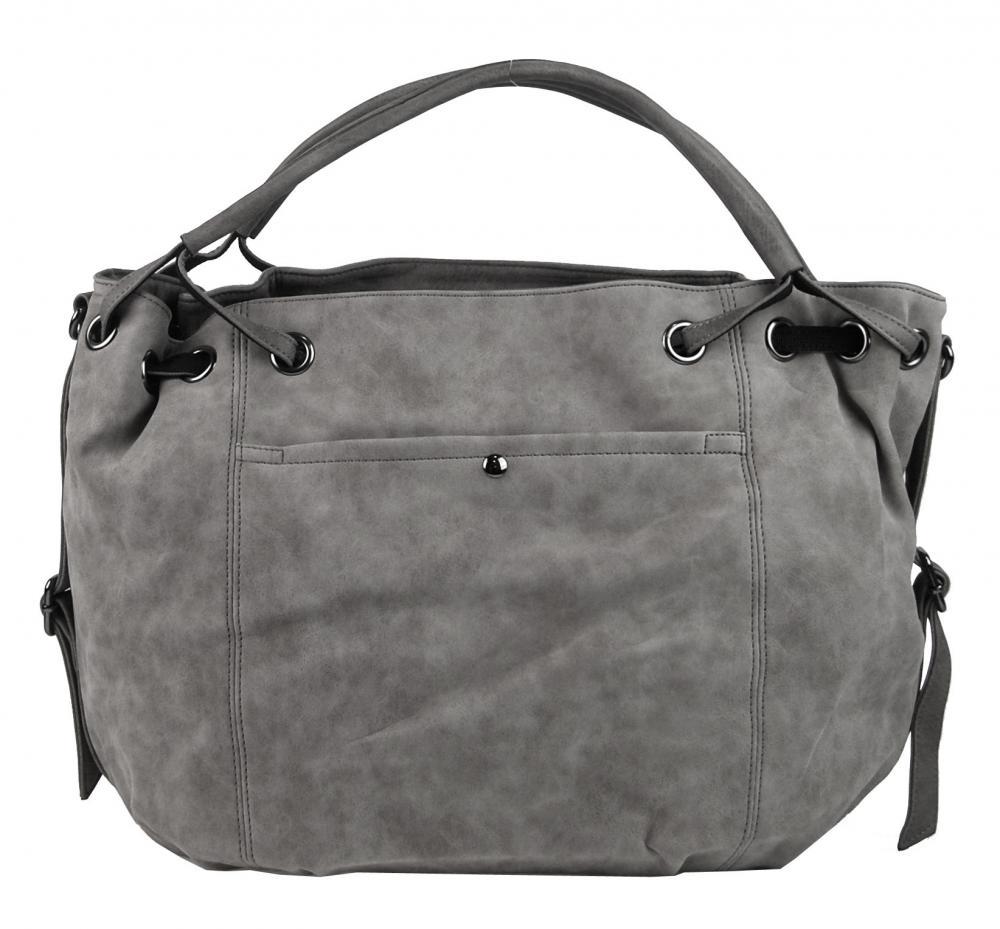 Veľká dámska kabelka z brúsenej ekokože H16093 šedá