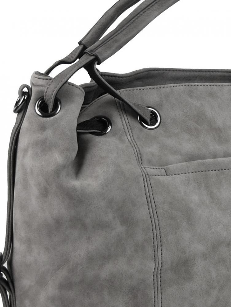 Velká dámská kabelka z broušené ekokůže H16093 šedá