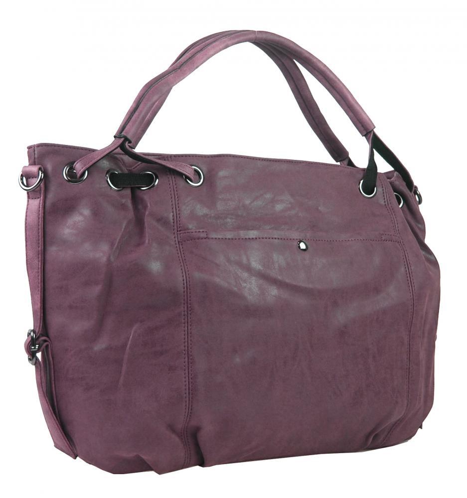 Veľká dámska kabelka z brúsenej ekokože H16093 fialová