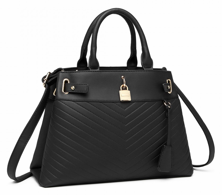 Elegantní černá kabelka se zámečkem Miss Lulu