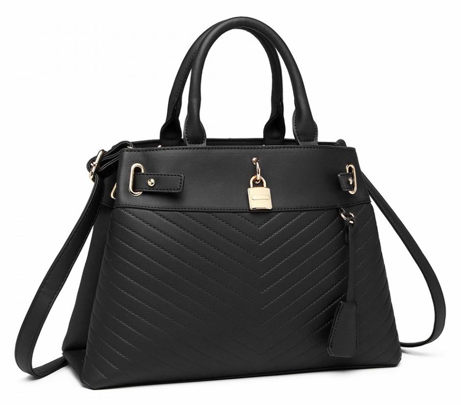 Elegantná čierna kabelka so zlatými doplnkami Miss Lulu