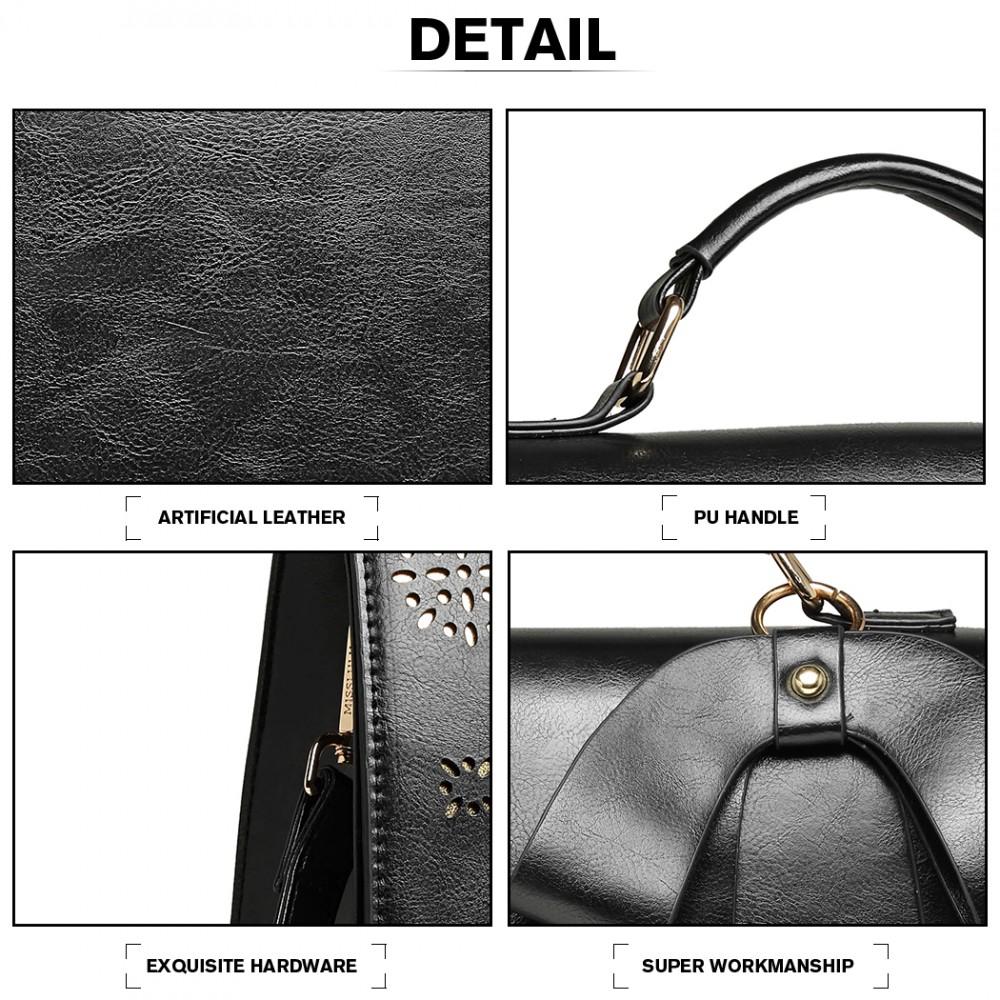 Černá elegantní dámská kabelka s perforovaným vzorem Miss Lulu