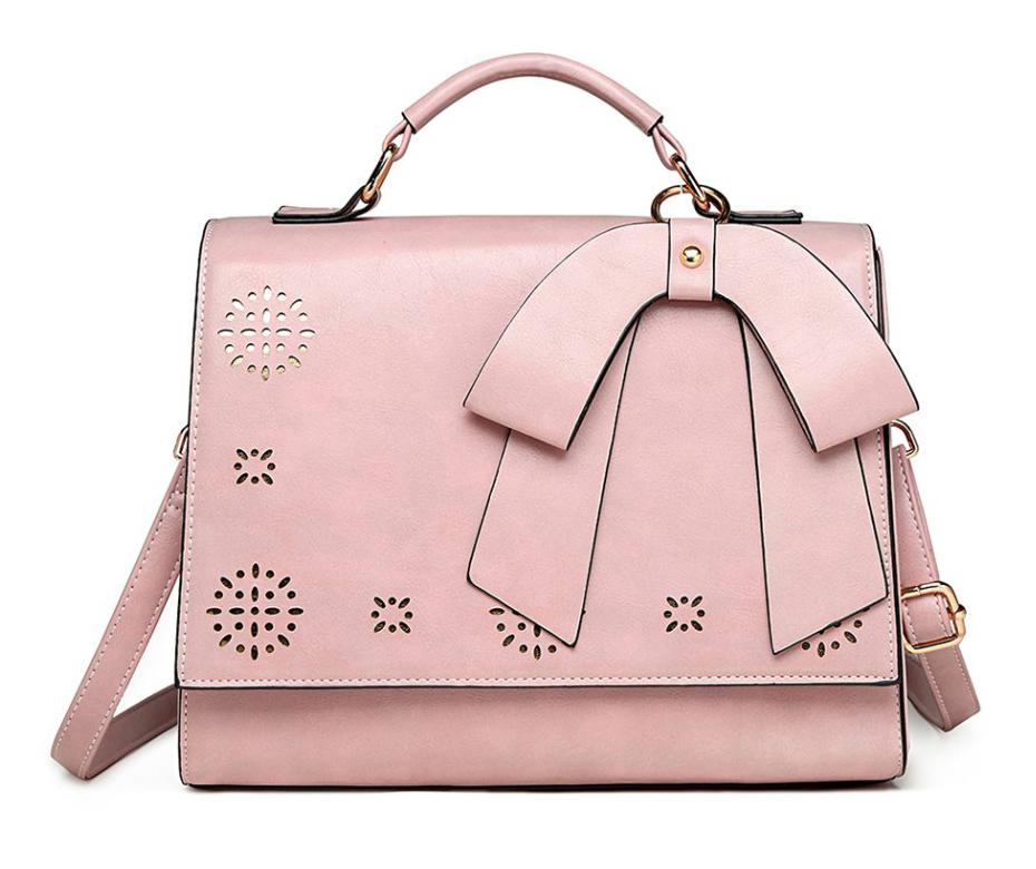 Růžová elegantní dámská kabelka s perforovaným vzorem Miss Lulu