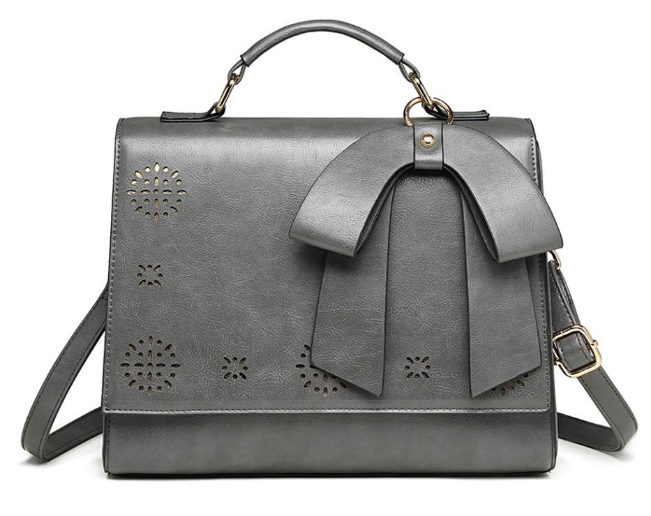 Šedá elegantní dámská kabelka s perforovaným vzorem Miss Lulu