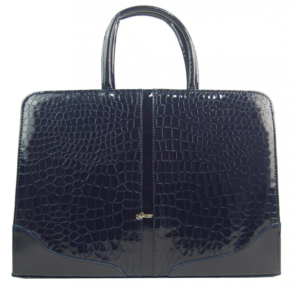 """Elegantní dámská aktovka / taška na notebook 15.6"""" modrá kroko kůže ST03 GROSSO"""
