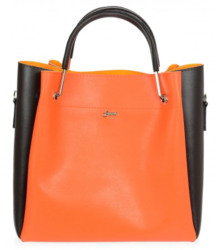 GROSSO Dámská kabelka oranžová / hnědá moderní do ruky S728