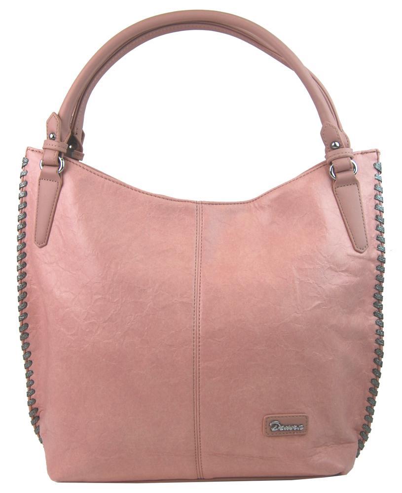 Moderná ružová dámska kabelka cez plece 3796-DE