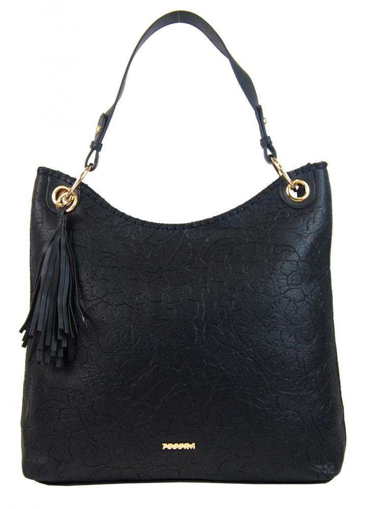 Moderná veľká čierna kabelka s potlačou kvetín 4257-TS