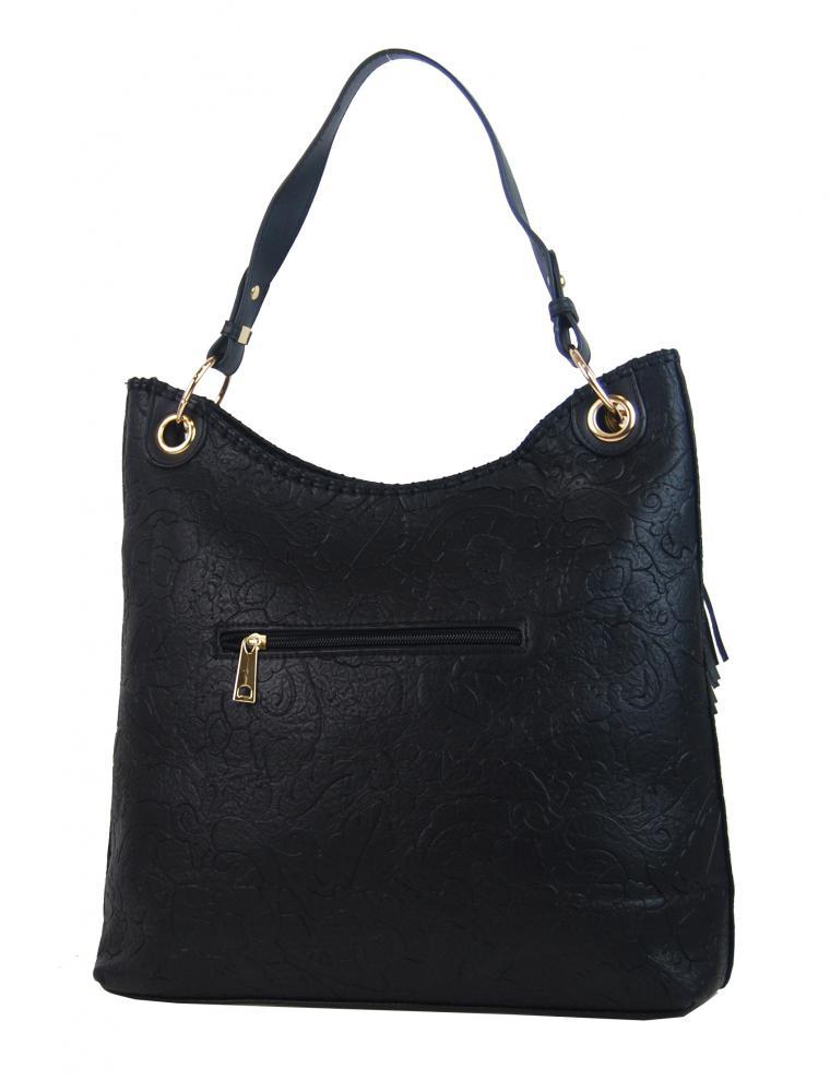 Moderní velká černá kabelka s potiskem květin 4257-TS