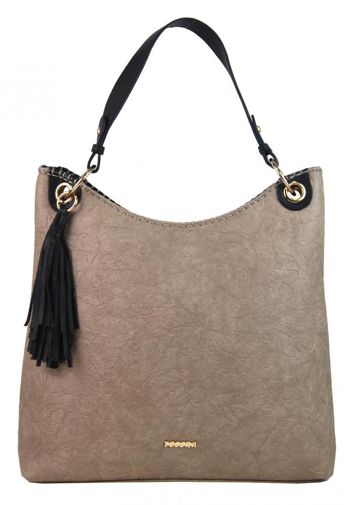 Moderná veľká pastelová hnedá kabelka s potlačou kvetín 4257-TS