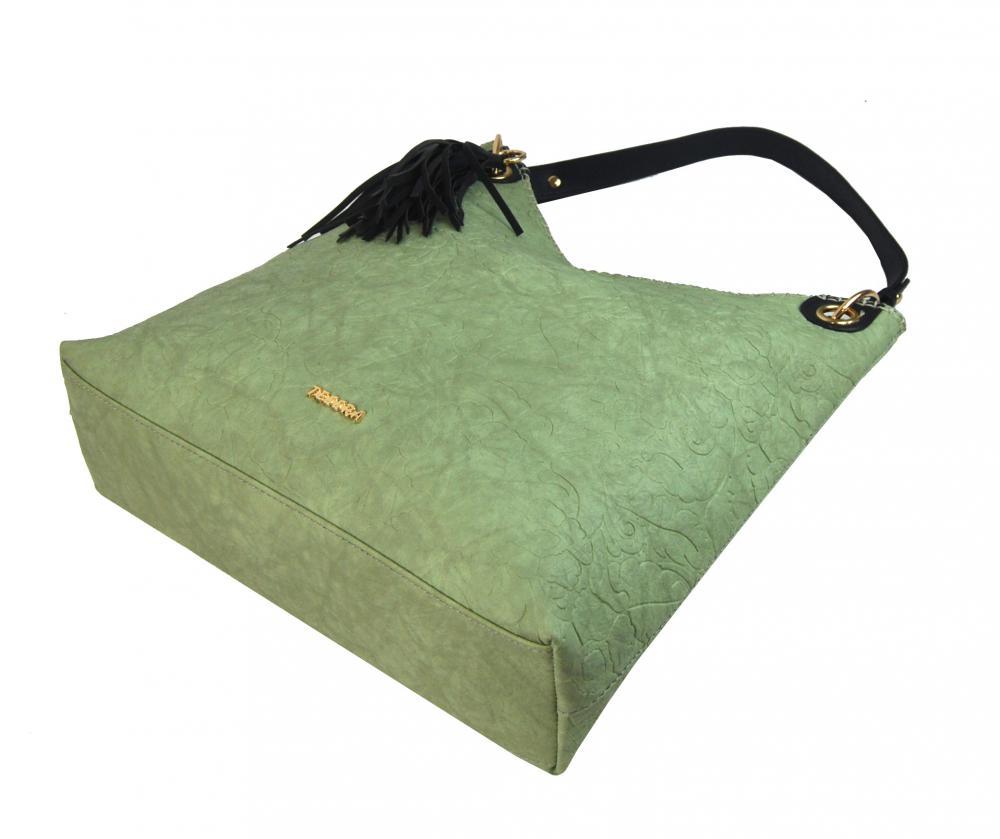 Moderná veľká mentolová kabelka s potlačou kvetín 4257-TS