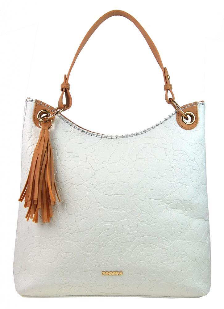 Moderná veľká biela kabelka s potlačou kvetín 4257-TS
