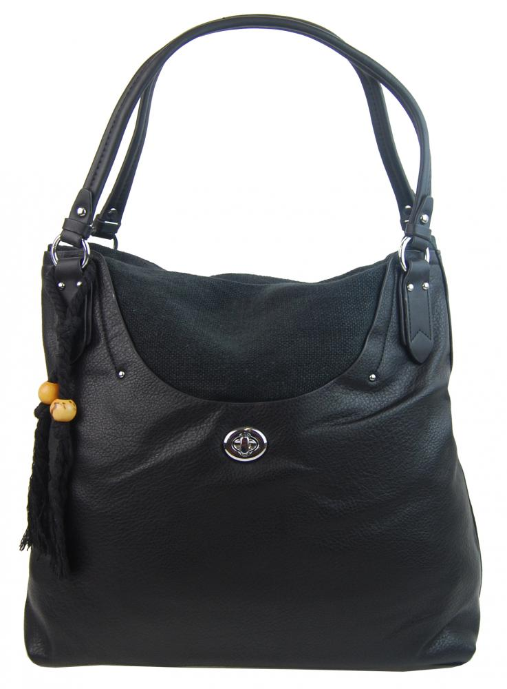 Veľká moderná čierna dámska kabelka cez plece 4620-BB