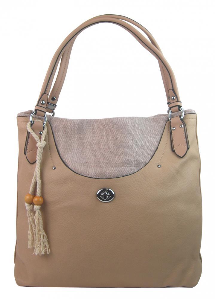 Veľká moderná hnedo-béžová dámska kabelka cez plece 4620-BB
