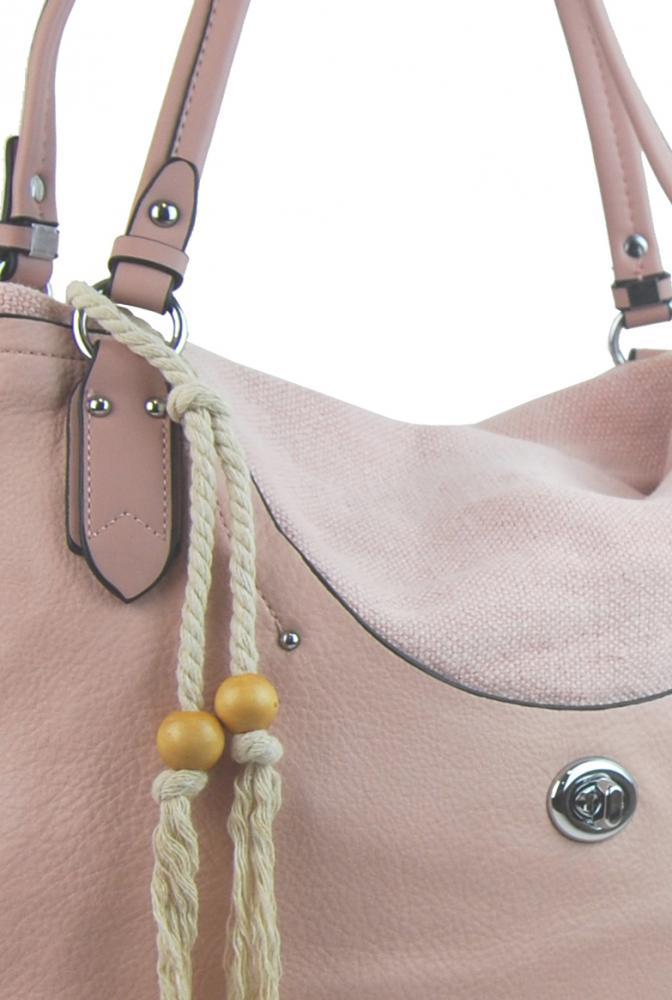 Velká moderní růžová dámská kabelka přes rameno 4620-BB