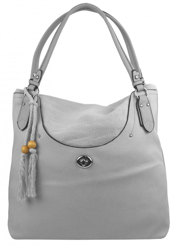 Velká moderní šedá dámská kabelka přes rameno 4620-BB