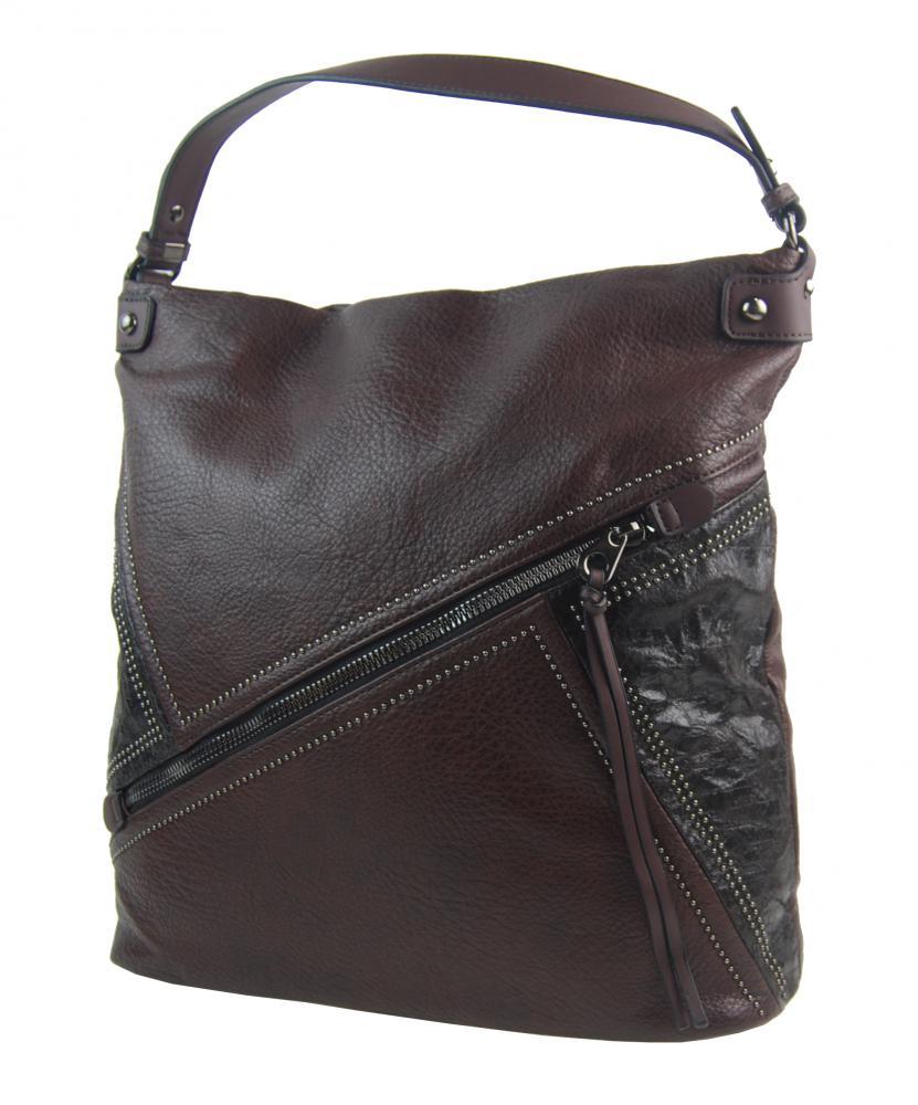 Velká kávově hnědá dámská kabelka přes rameno 5120-BB