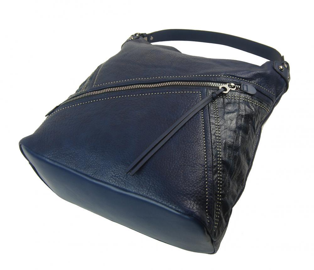 Veľká tmavo modrá dámska kabelka cez plece 5120-BB