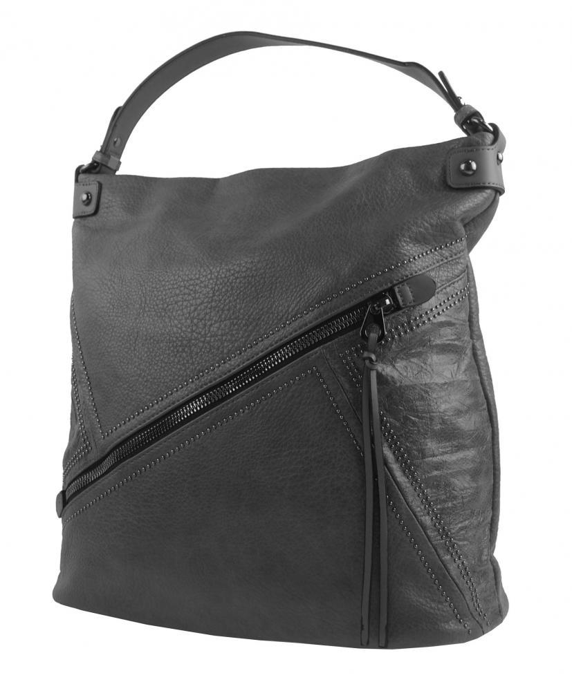 Velká tmavě šedá dámská kabelka přes rameno 5120-BB