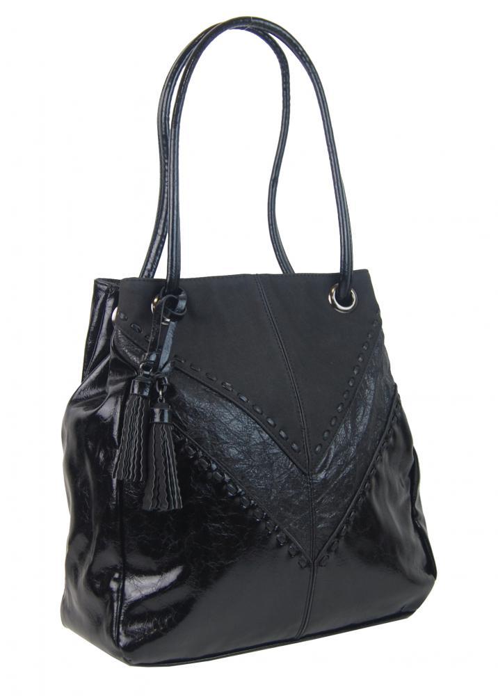 Moderní černá dámská kabelka přes rameno 5128-BB