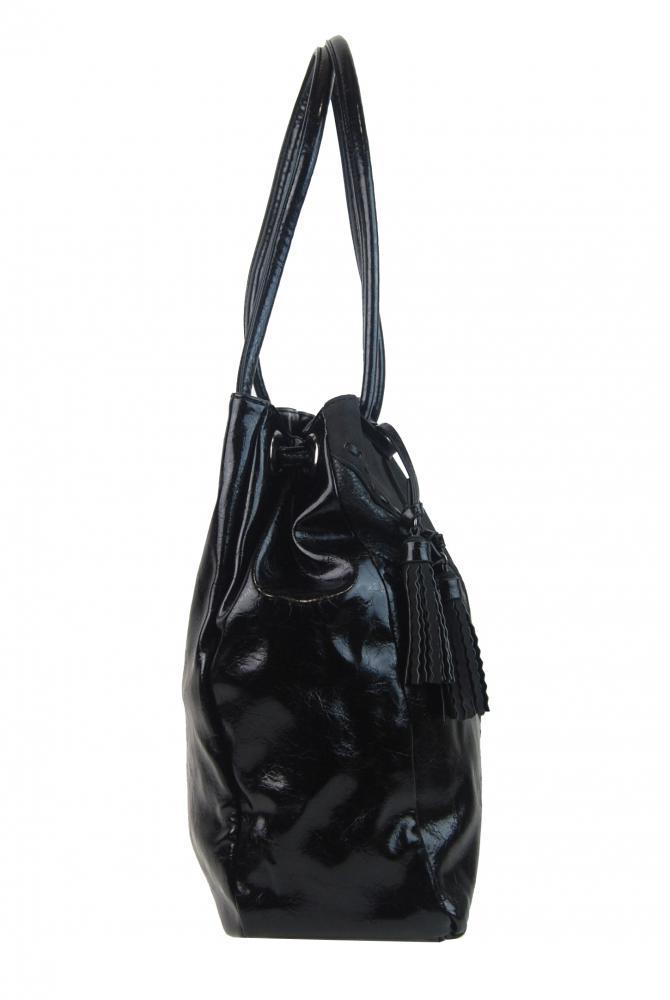 Moderná čierna dámska kabelka cez plece 5128-BB