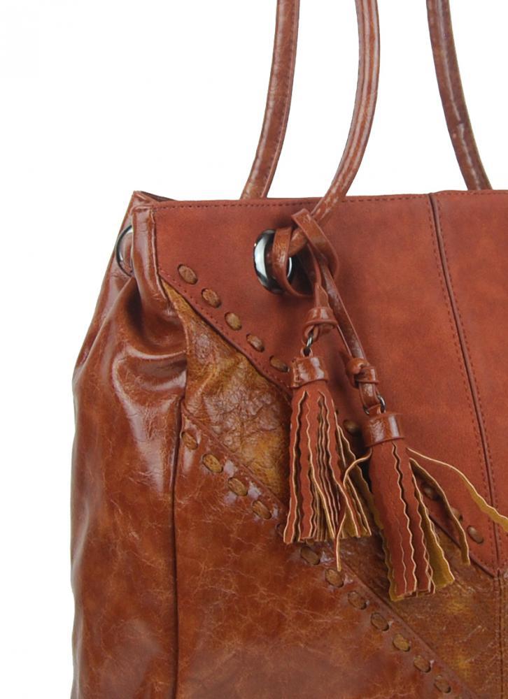 Moderná hnedá dámska kabelka cez plece 5128-BB