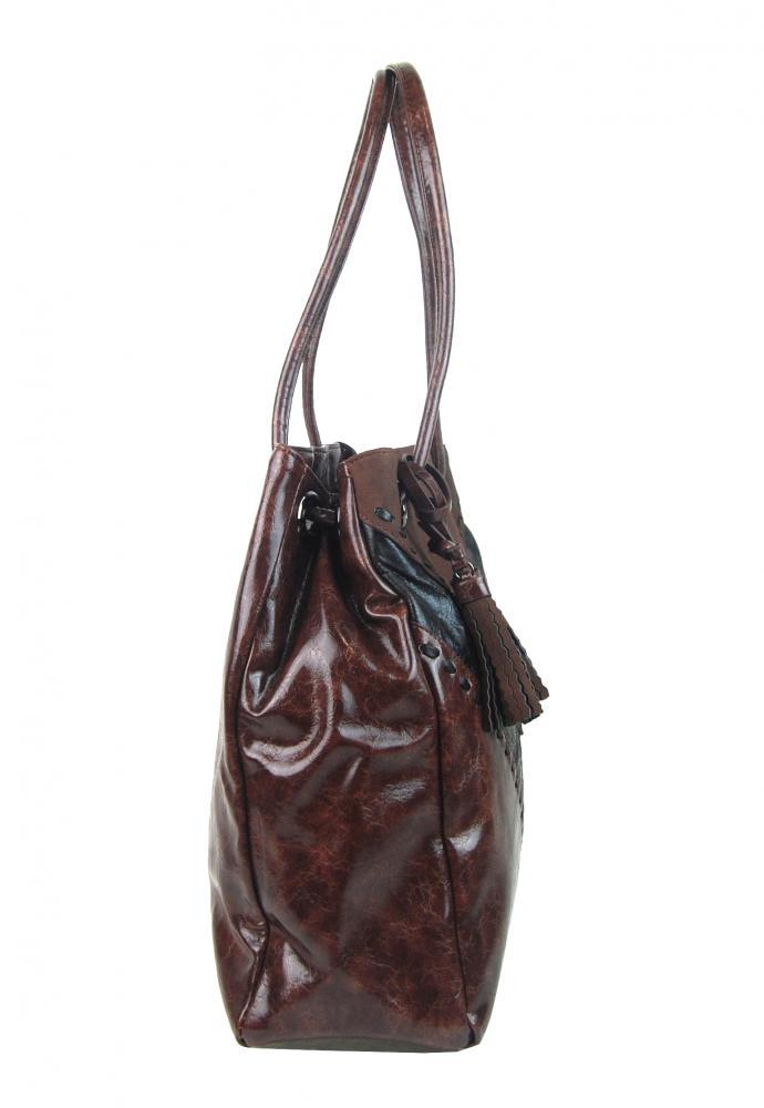 Moderná kávovo hnedá dámska kabelka cez plece 5128-BB