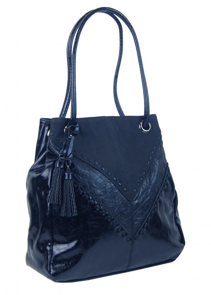 Moderná tmavo modrá dámska kabelka cez plece 5128-BB