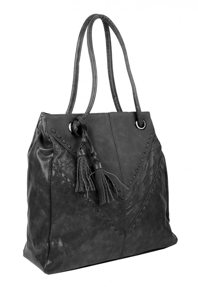 Moderní tmavě šedá dámská kabelka přes rameno 5128-BB