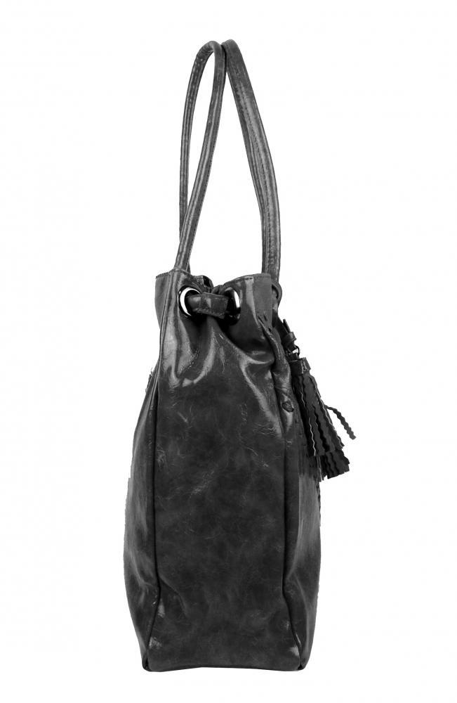 Moderná tmavo sivá dámska kabelka cez plece 5128-BB