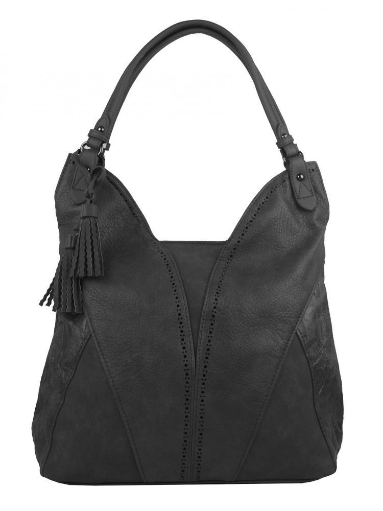 Tmavě šedá moderní dámská kabelka přes rameno 5139-BB