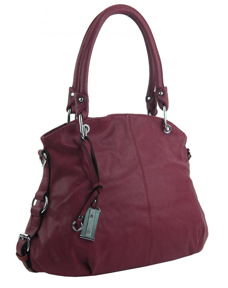 Velká bordová dámská kabelka přes rameno 57-MH