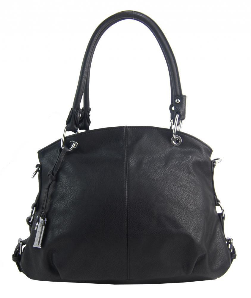 Velká černá dámská kabelka přes rameno 57-MH
