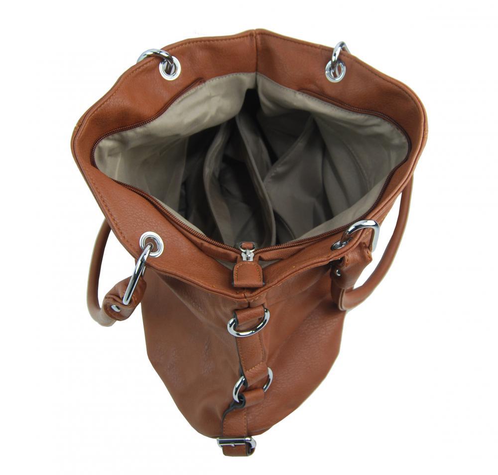 Velká hnědá dámská kabelka přes rameno 57-MH