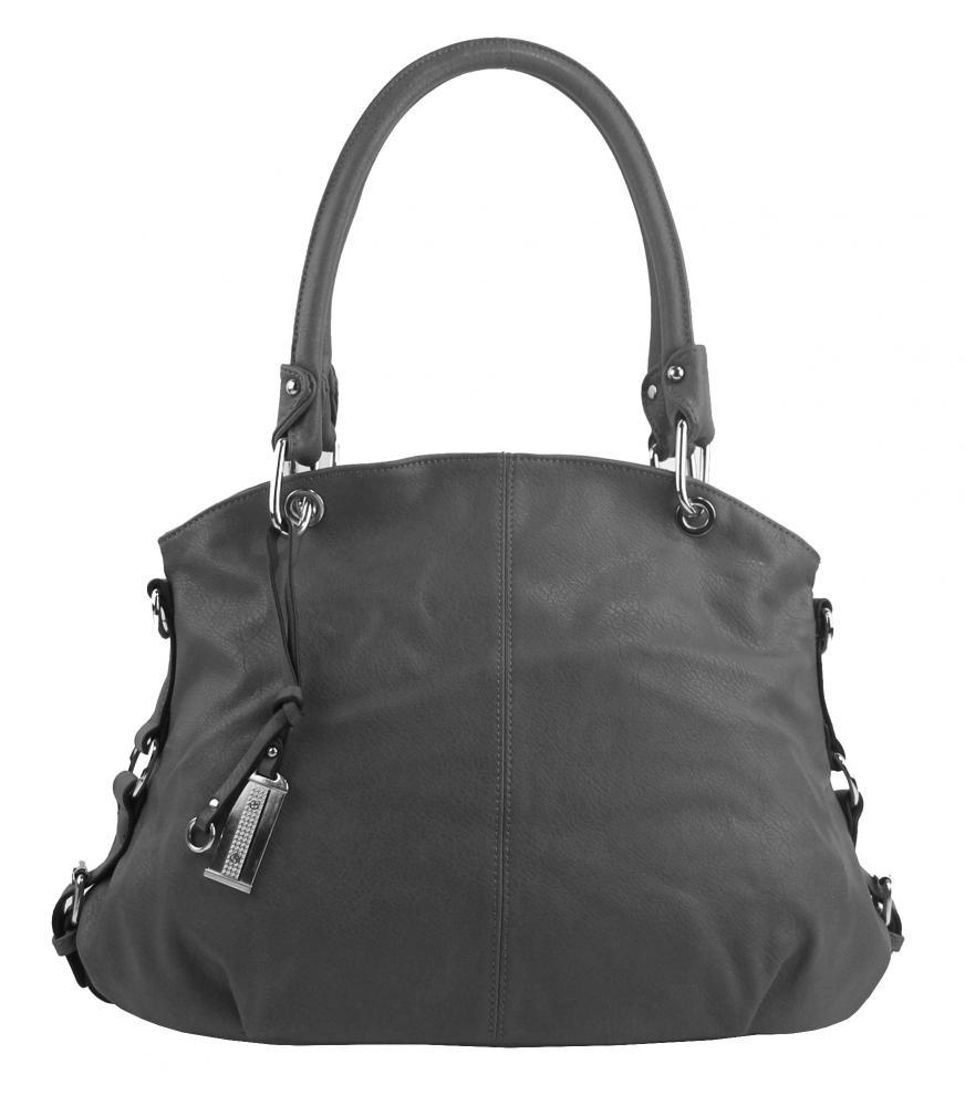Velká středně šedá dámská kabelka přes rameno 57-MH