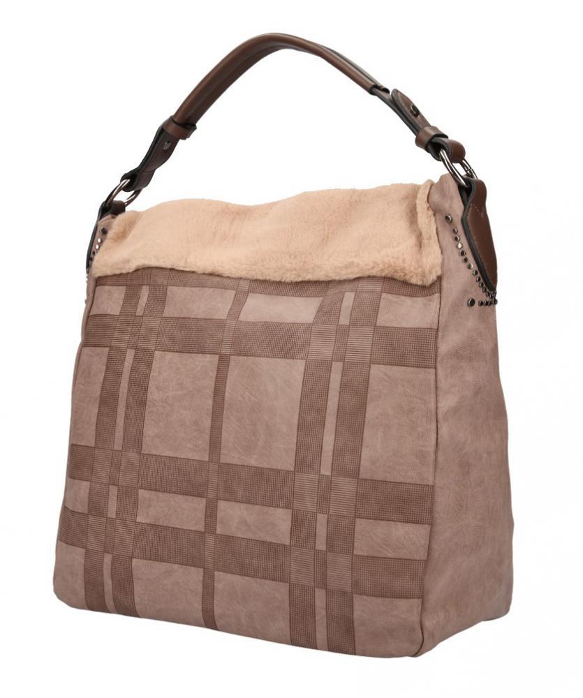 Kombinovaná velká dámská kabelka Tommasini přírodní hnědá