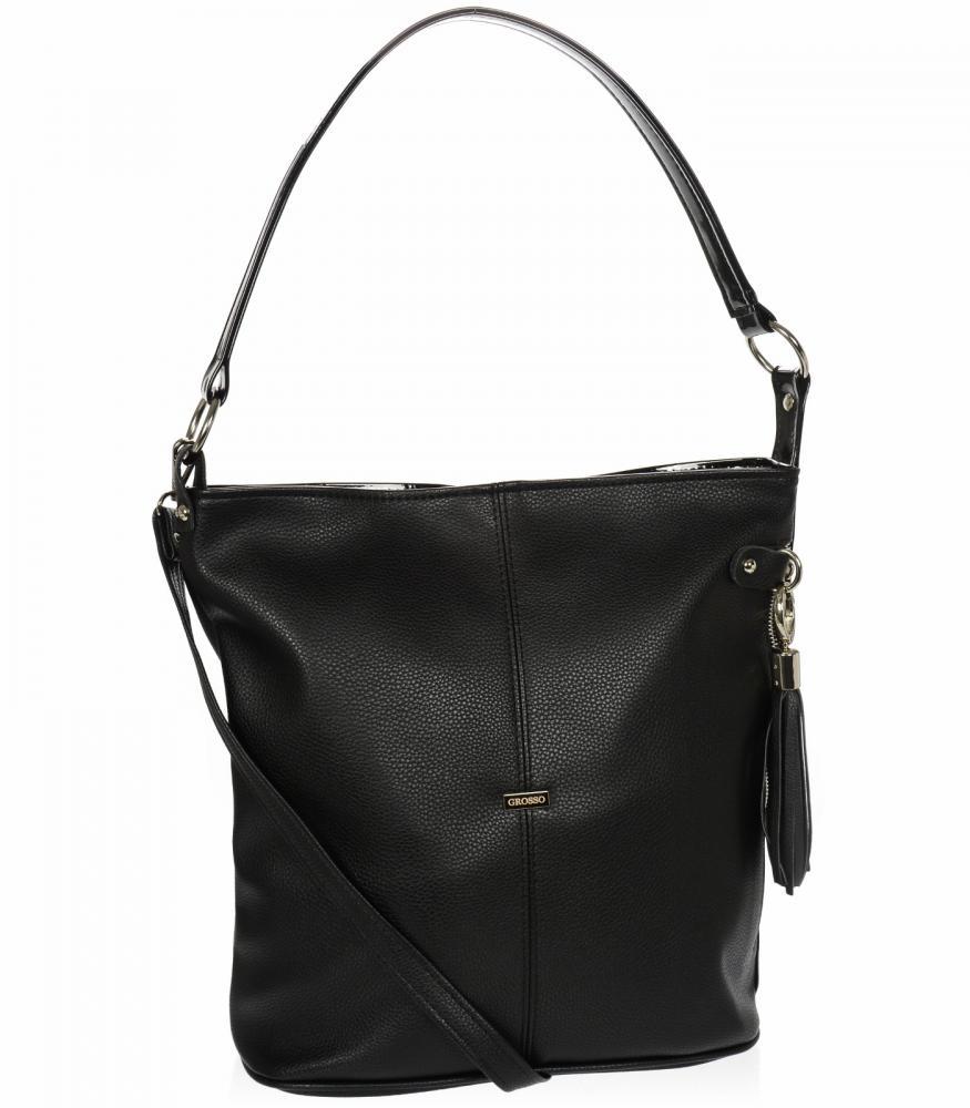 Velká černá dámská kabelka přes rameno S584 GROSSO