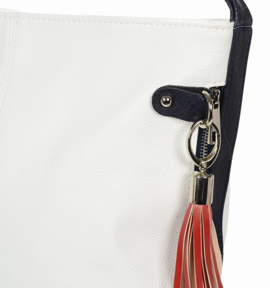 Velká bílo-modro-červená dámská kabelka přes rameno S584 GROSSO