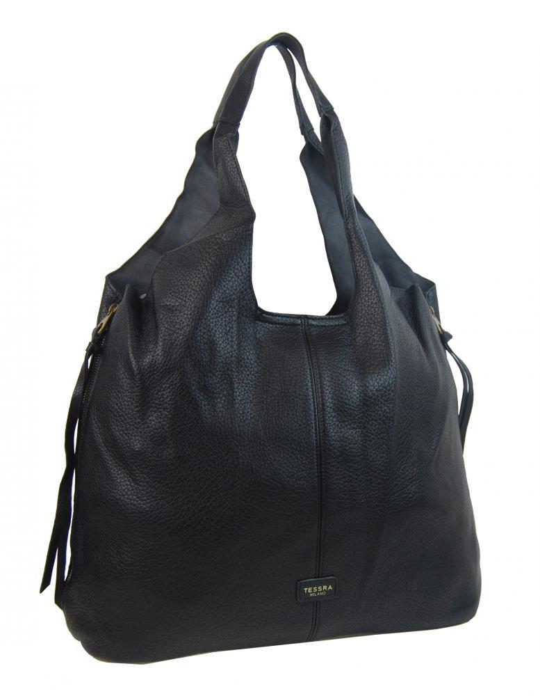 Moderná čierna dámska kabelka cez plece 5064-TS