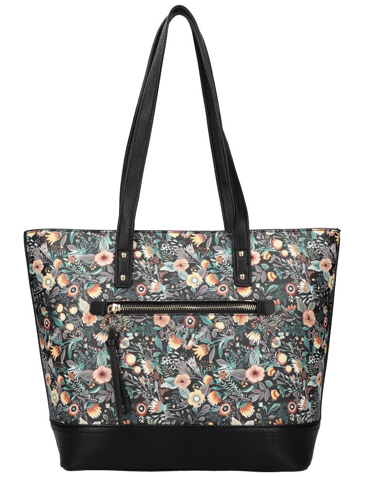 Čierna dámska kabelka cez rameno s potlačou kvetín AM0116