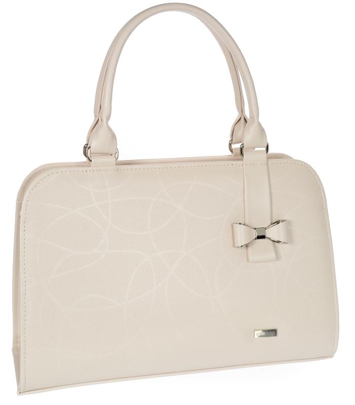 Béžová elegantní dámská kabelka s mašlí S411 GROSSO