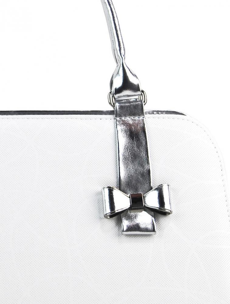 Bílo-stříbrná elegantní dámská kabelka S411 GROSSO