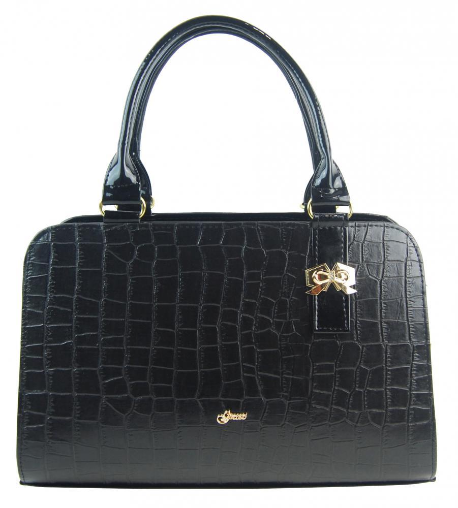 Černá elegantní kroko dámská kabelka S411 GROSSO