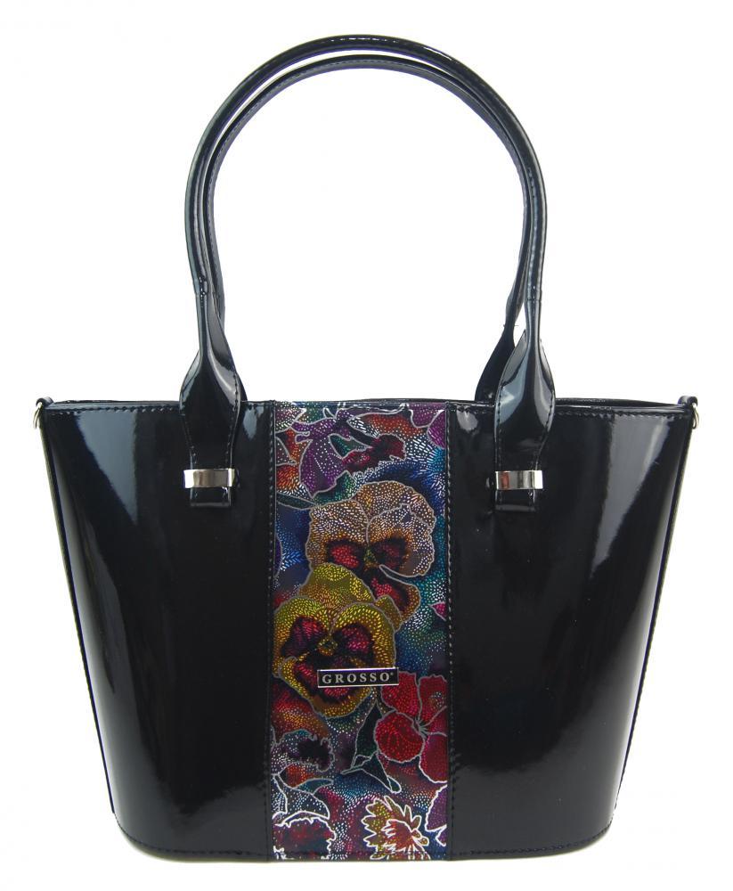 Luxusní dámská kabelka černý lak s barevnými kvítky S504 GROSSO