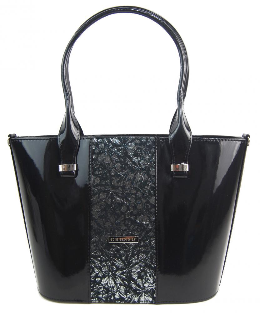 Luxusná dámska kabelka čierny lak so striebornými kvietky S504 GROSSO