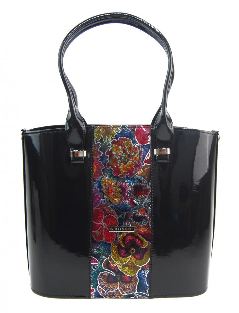 Luxusní velká dámská kabelka černý lak s barevnými kvítky S528 GROSSO