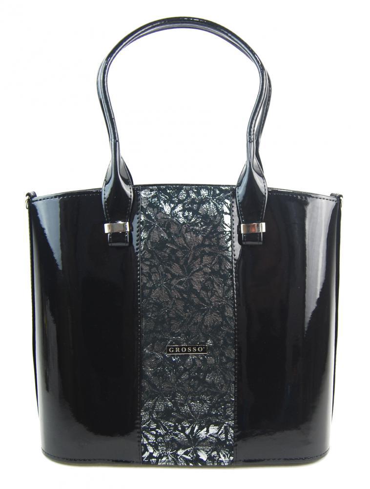 Luxusní velká dámská kabelka černý lak se stříbrnými kvítky S528 GROSSO