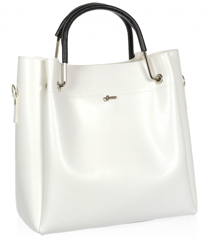 GROSSO Bílo-černá luxusní kabelka do ruky S728