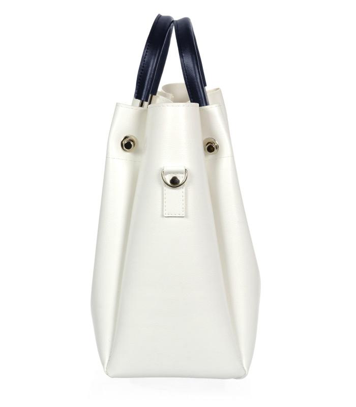 Bílá moderní dámská kabelka s tmavě modrými ručkami S728 GROSSO