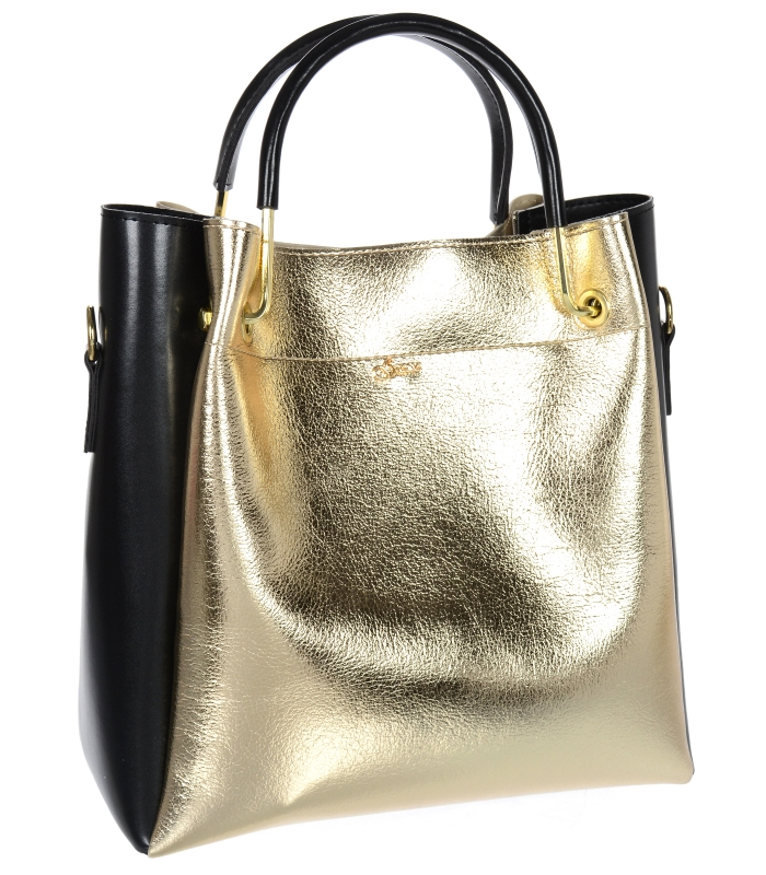 Elegantní dámská kabelka S728 zlatá s černými doplňky GROSSO